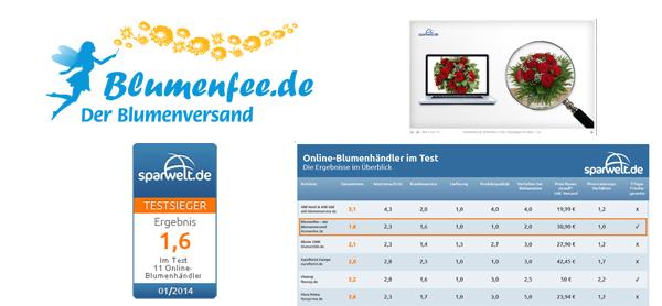 Blumenversender Test von Sparwelt.de - Blumenfee ist Testsieger mit der Note 1,6