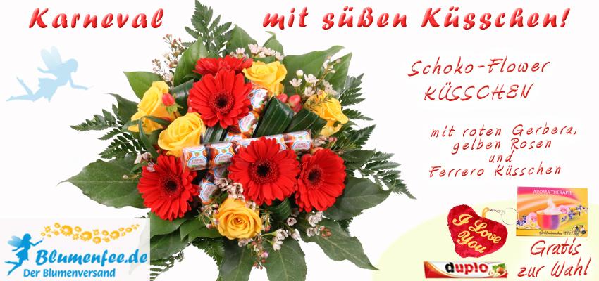 Den Schoko-Flower Blumenstrauß Küsschen könnt ihr online bestellen - günstig und kinderleicht.