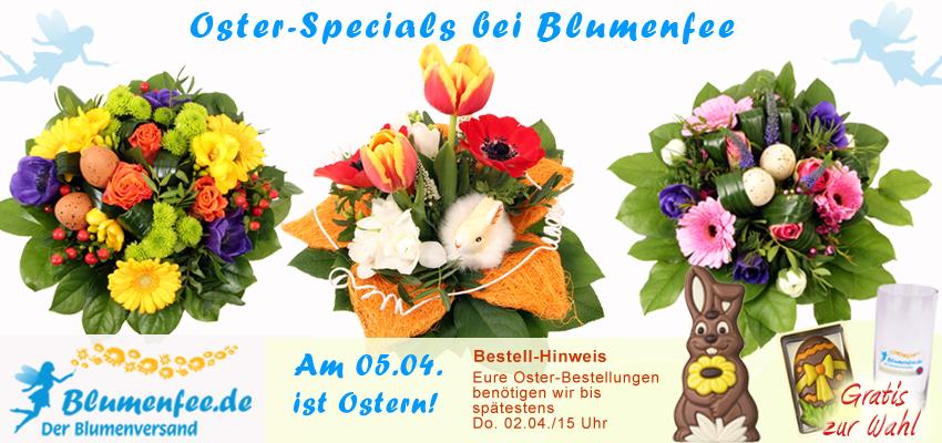 Osterblumen Sträuße mit süßen Osterhasen und Frühlingsblumen schnell und günstig online versenden