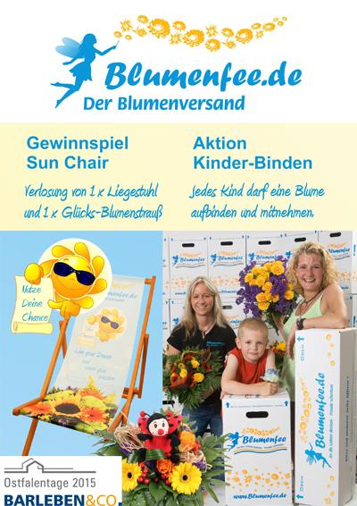 Blumenfee Live erleben - Messe Aktion Kinder binden und Gewinnspiel Sun Chair