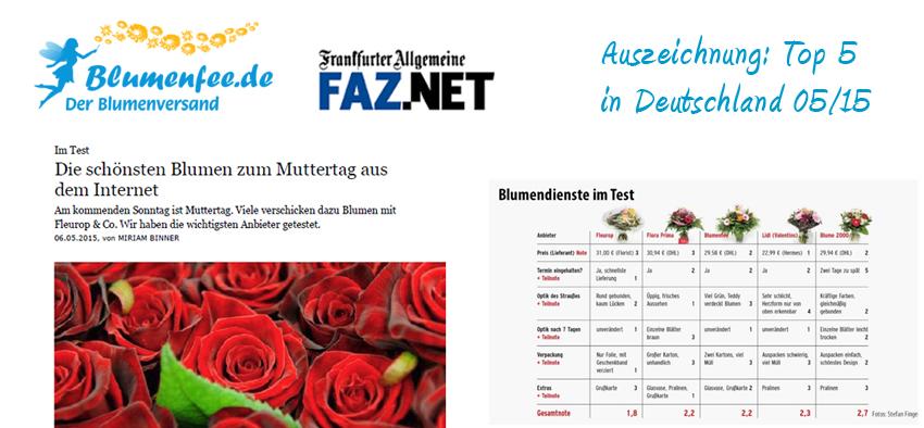 Blumenfee Top 5 im Blumenversand Test der FAZ am Sonntag