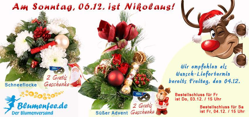 Blumensträuße zum Nikolaus mit Brezel Trio und Elch-Figur zum Nikolaus verschenken