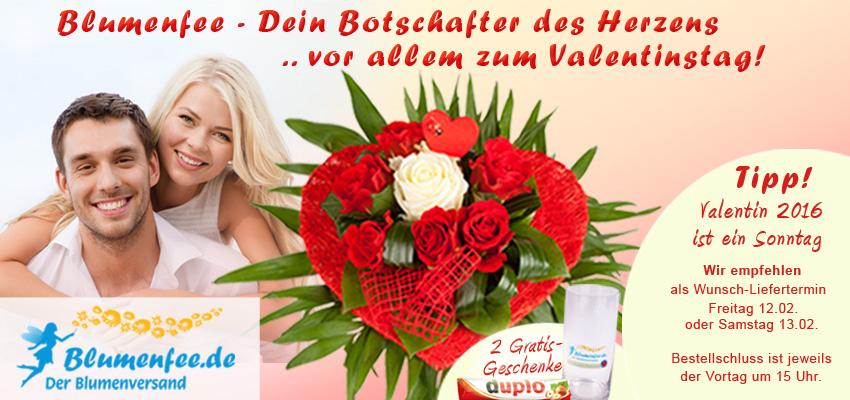 Blumen zum Valentinstag mit Blumenfee versenden