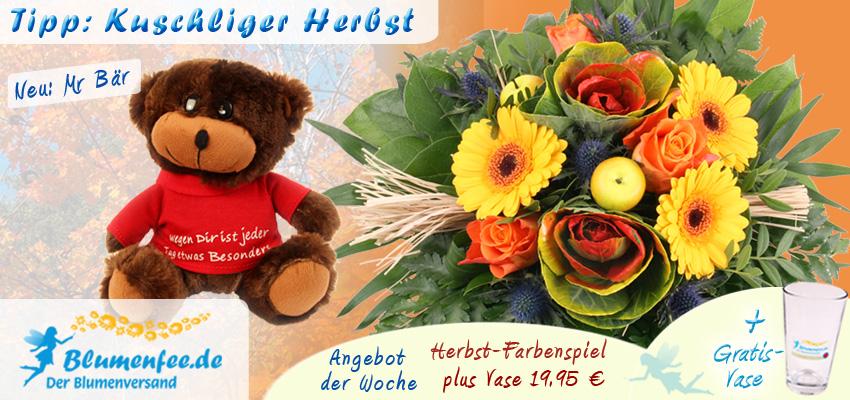 Herbst-Blumenstrauß Herbst-Farbenspiel plus Vase - Angebot der Woche bei Blumenfee