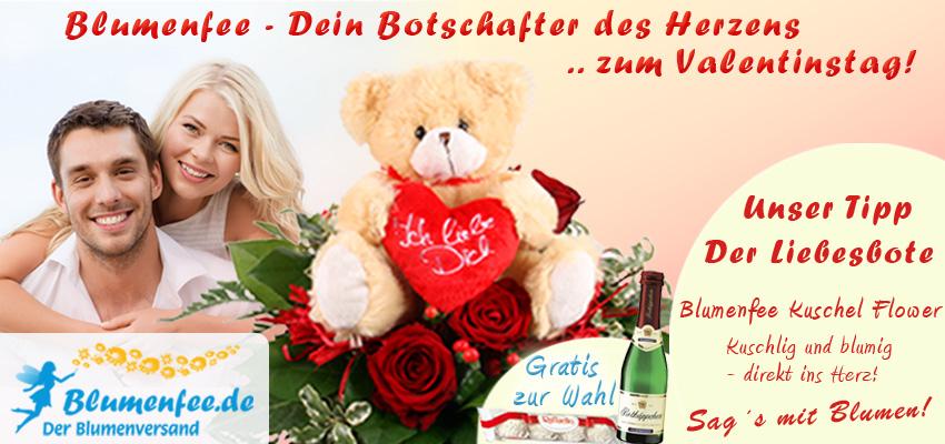 Blumen zum Valentin - Rotes Rosenherz mit Sekt online versenden mit Blumenfee