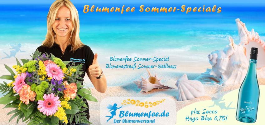 Sommerblumen Sträuße mit Secco online versenden mit Blumenfee