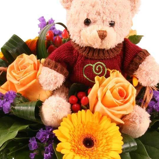 teddyb r und blumen kuschel flower rico kuschlige blumen online verschicken mit. Black Bedroom Furniture Sets. Home Design Ideas