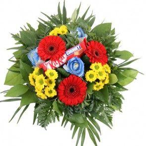 Weltmeister Blumenstrauß mit knalligem Farb-Kontrast in Rot-Gelb-Blau online verschicken mit Blumenfee.de