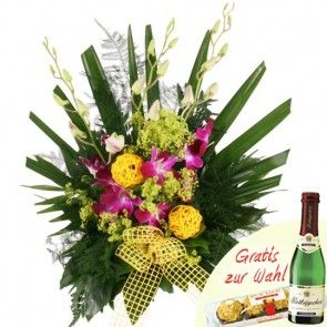 Blumenstrauß mit Orchideen online versenden - mit Gratiszugabe im Blumenfee Blumenversand