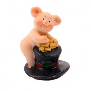 Glücksschwein Figur mit Zylinder