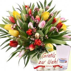 30 Bunte Tulpen mit Vase online bestellen