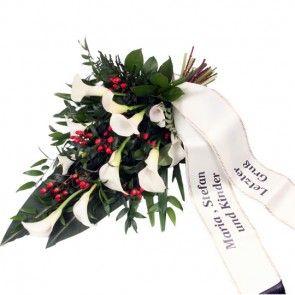 Trauerstrauß mit Trauerschleife mit Ihrem eigenen Text  online verschicken auf www.blumenfee.de