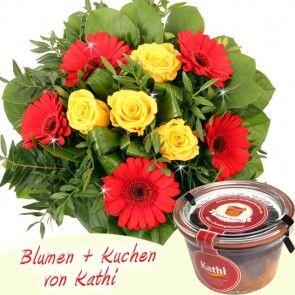 Blumenstrauß und Kuchen  - online versenden mit Blumenfee