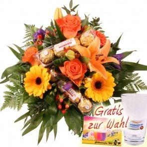 Blumen und Schokolade - Blumenstrauss Goldy online verschicken