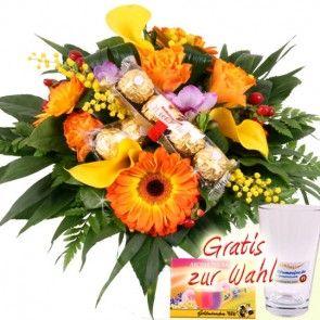 Blumenstrauss mit Schokolade - Schoko-Flower online bestellen und frisch und sicher versenden mit Blumenfee