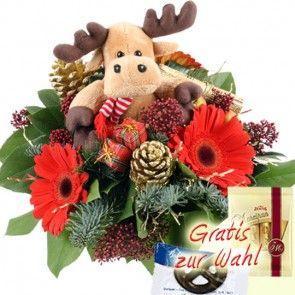 Blumengruß zu Weihnachten mit Elch - schnell und günstig versenden mit Blumenfee