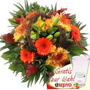 Herbst-Blumenstrauß Farbenpracht in den Farben Orange-Gelb-Braun online verschicken