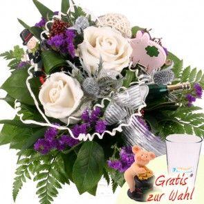 Neujahrs Blumenstrauß / Blumenversand Silvester mit Wachsrosen in Creme online verschicken mit Blumenfee