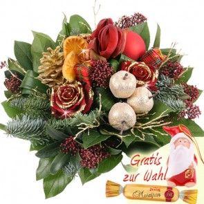 Adventsstrauß / Weihnachtsstrauß mit Amaryllis online bestellen und versenden mit dem Testsieger.