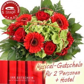 Musical Gutschein zusammen mit Hotelübernachtung und Blumenstrauß bestellen und schnell und günstig verschicken