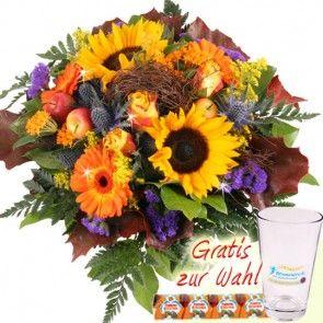 Herbst Blumen in den  Farben des Indian Summer - günstig und schnell versenden mit Blumenfee.