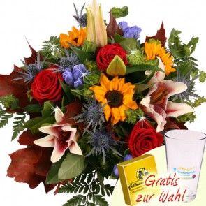 Herbstsonne - Blumen passend zum Herbst mit Schaf-Figur oder Schokolade online bestellen und günstig versenden