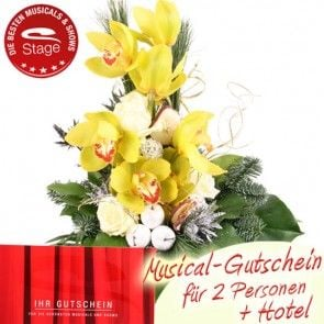 Weihnachtsgeschenk Musical Gutschein und Orchidee online verschicken mit Blumenfee