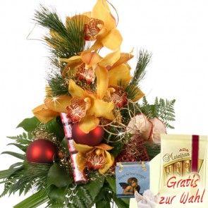 Orchidee zum Adevnt - weihnachtlich gestaltet - Premium Weihnachtsstrauß bei Blumenfee.de