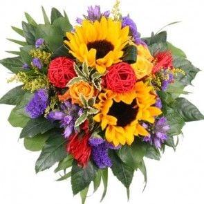 Blumenstrauß Shining Sun Premium mit 3 Gratiszugaben Ihrer Wahl – Blumen online verschicken auf www.blumenfee.de