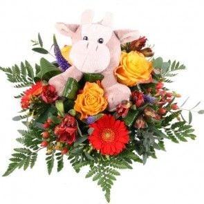 Blumenstrauß Kuschelflower Hippo mit 3 Gratiszugaben Ihrer Wahl – Blumen online verschicken auf www.blumenfee.de