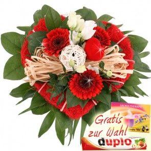 Blumenherz zum Frauentag - mit Duplo oder Aroma Therapie Tee - der besondere Liebesgruß - online verschicken mit Blumenfee