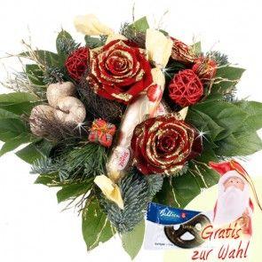 Adventstrauß mit Glitzer-Rosen und Marzipan Stangen - Blumen zu Weihnachten - online versenden
