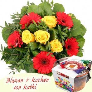 Blumen und Kuchen - mit Banderole Happy Birthday - online verschicken mit Blumenfee
