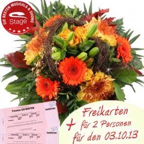 Freikarten Gefährten mit Blumen online verschenken
