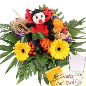Blumen und Glücks-Marienkäfer - günstig und schnell verschicken mit dem schnellen 24h-Blumenversand Blumenfee.