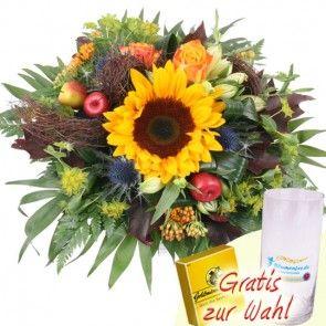 Herbstrauss mit Sonnenblume und Rosen und Gratis-Geschenk schnell und günstig online verschicken.