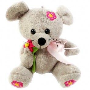 Plüsch Maus mit Blume