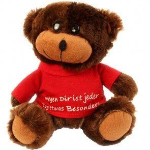 Teddy mit Shirt - Dunkelbraun