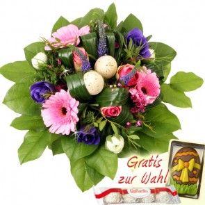 Oster-Blumenstrauß mit Deko-Eiern online verschicken mit dem Testsieger Blumenfee