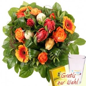 Osterblumenstrauß in Orange - online bestellen beim Testsieger Blumenfee - Der Blumenversand
