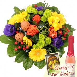 Oster Blumensstrauß Farbenmeer mit Schokolade oder Sekt online verschicken mit dem Testieger Blumenfee