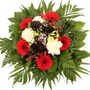 Blumenstrauß Black Beauty mit schwarzen Rosen und roten Mini-Gerbera online gut und günstig versenden mit Blumenfee - der Blumenversand.