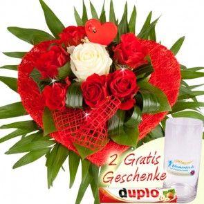 Blumen zum Valentinstag - Valentins-Herz - online bestellen und verschicken -  frisch, schnell und günstig mit Blumenfee - Dem Blumenversand