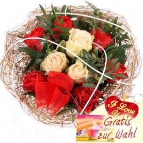 Blumenstrauss mit weißen und roten Rosen - Für die Beste - online verschicken mit Blumenfee