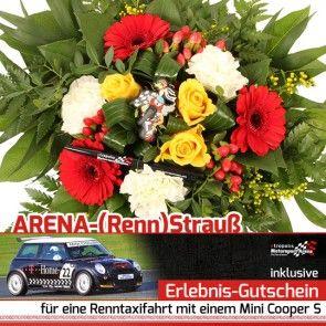 Blumen und Gutschein für Renntaxis