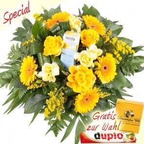 Sommerblumen ganz in Gelb zusammen mit Sonnecreme Apres Sun online verschicken - der cremige Sommerstrauß von Blumenfee.