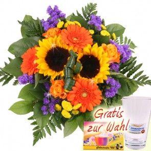 Sommerstrauss mit Sonnenblumen und Gerbera online verschicken - mit dem schnellen 24h Blumenversand Blumenfee