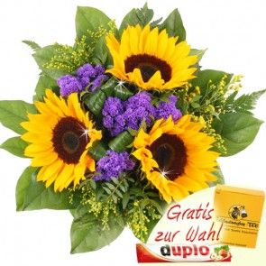Sommerblumenstrauss Sommer-Freude mit drei Sonnenblumen und Schokolade oder Tee online verschicken mit Blumenfee