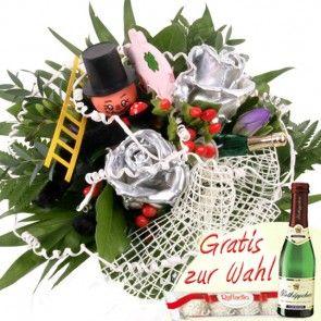 Neujahrs Blumen - Silvester Strauss mit silbernen Wachsrosen schnell und einfach online verschicken