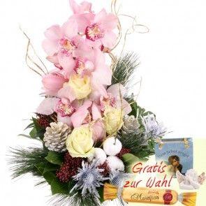Winter Orchidee / Weihnachts Orchidee mit Rosen, Edel-Disteln und einer Engels-Figur - sicher und schnell versenden